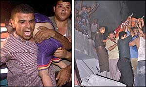 Left picture: A Palestinian rescuer carries the body of a dead son of Sheik Salah Shedada, found in the rubble of destroyed houses. Right picture: Palestinian rescuers carry a dead child ( Photo: AP)