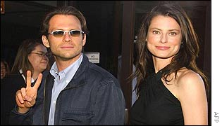 Christian Slater arrived with his wife, Ryan Haddon