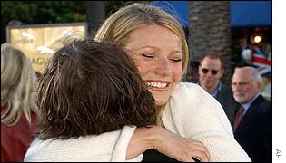 Gwyneth Paltrow embracing actor Jack Black