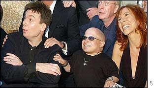 Mike Myers with Mindy Sterling and Verne Troyer