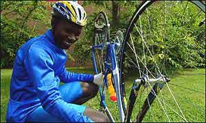 The Gambian cyclists have been supplied with new bikes