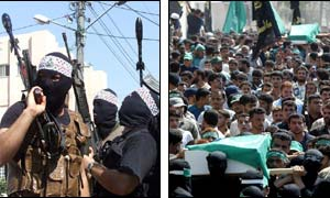 Members of the al-Aqsa Martyrs Brigade (l) and the funeral procession (r) ( Photos: AFP)