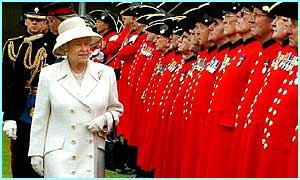 The Queen inspecting the Chelsea Pensioners