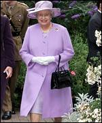 The Queen in the gardens at Christie's hospital in Manchester
