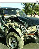 Blown up car of Abdul Qadir