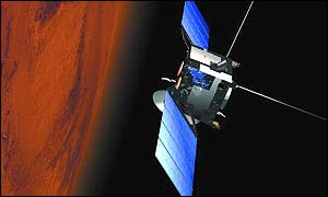 Artist's concept of Mars Express near the Red Planet (European Space Agency)