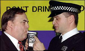 John Prescott is breathalysed as part of a government drink drive campaign