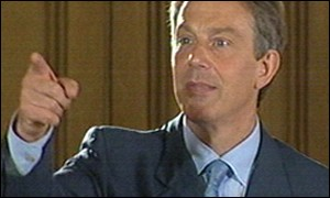 Prime minister Tony Blair taking press questions