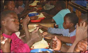 Children at a feeding centre