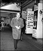 Maurice Denham outside a London West End theatre