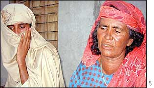 The victim of the alleged gang rape (l) and her mother