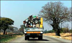 Farmers on truck in Zimbabwe