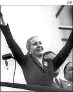 Eva Peron on a balcony