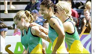 Katrina Powell, Brooke Morrison and Julie Towers were the goalscorers as Scotland made Australia fight for victory