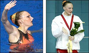 Gayle Adamson takes the silver in the synchronised swimming