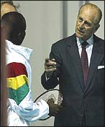 The Duke of Edinburgh visiting members of the Ghana badminton team