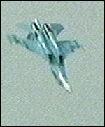 Su-27 jet before the crash