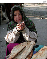 Young girl selling bread on Kabul streets