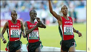 Stephen Cherono (right) takes victory ahead of Ezekiel Kemboi (centre) and Abraham Cherono (left)