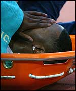 Mark Lewis-Francis had to be stretchered out of the Manchester stadium