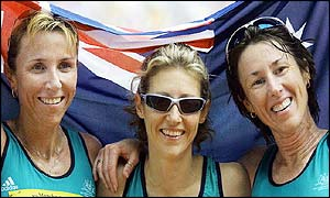 Australia's Kerryn McCann flanked by her compatriots Krishna Stanton and Jackie Gallagher