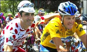 Lance Armstrong and Laurent Jalabert in action in the Tour de France