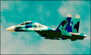 The SU 27 flying at the air show minutes before it crashed
