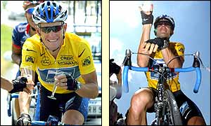 Lance Armstrong celebrates winning the Tour de France