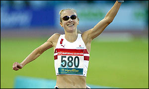 Paula Radcliffe powered to a stirring victory