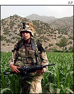 A US soldier on patrol in Afghanistan