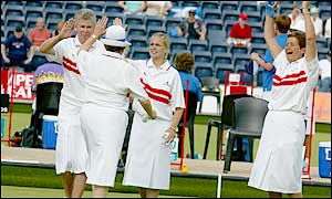 Gill Mitchell, Carol Duckworth (hat), Ellen Alexander and Shirley Page are aiming for a spot in the semi-finals
