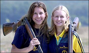 Lauryn Ogilvie and Natalia Rahman win the women's pairs skeet