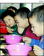 Children eating a meal
