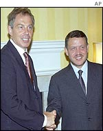 British Prime Minister Tony Blair with Jordan's King Abdullah