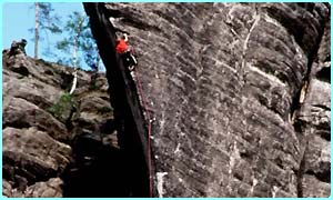 Rock climbers use special ropes and equipment
