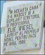 Sign marking Elie Wiesel's former home
