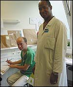 Dr Laurent Casenove (left) and hospital worker Alex Talbot