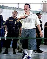 Tommy Suharto playing badminton in prison