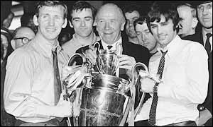 Manchester United legends Paddy Crerand, Matt Busby and George Best after Manchester United beat Benfica 4-1