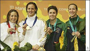 Australia's Petria Thomas and Elka Graham share bronze