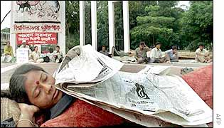 Student on hunger strike at a Dhaka university memorial