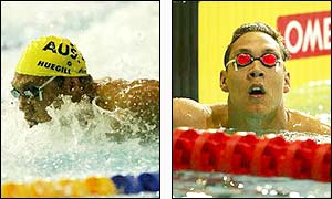 Geoff Huegill sets a time of 24.10 seconds in his 50m butterfly heat to ease through to the semi-finals