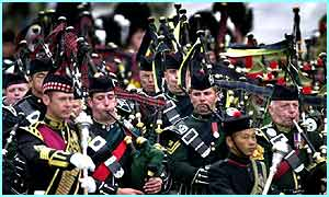 Pipers play in the streets of Edinburgh