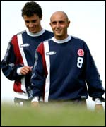 Massimo Maccarone (right) at his first day's training with Middlesbrough