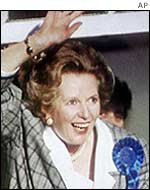 Mrs Thatcher after winning for a third time