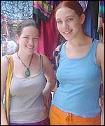 Young tourists at an Indian market