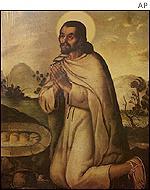 Retrato del indio Juan Diego en la Basílica de Guadalupe