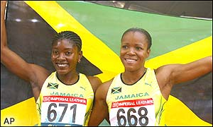 Jamaican athletes took the top two places in the 100m hurdles
