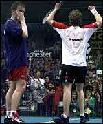 Power celebrates while a dejected Nicol looks on