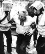 Police arrest Arthur Scargill at the Battle of Orgreave during the 1985/5 miners' strike